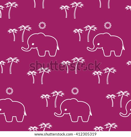 Elephant. Cartoon cute elephant seamless pattern  Cute Elephant - Vector File .Travel and rest .Palm trees  and sun. Happy walk in the jungle