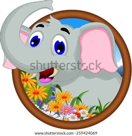 elephant cartoon in frame - stock vector
