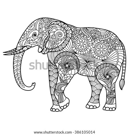 Elephant Coloring Page Graceful Exquisite Style Stock Vector 386105014