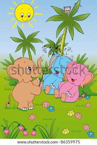 Elephant conducts musicians. - stock vector