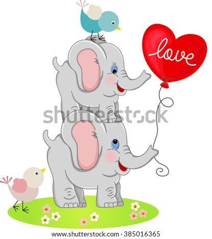Elephant couple and birds with love balloon - stock vector