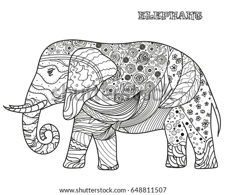 abstract elephant coloring pages for adults - elephant design zentangle hand drawn elephant stock vector