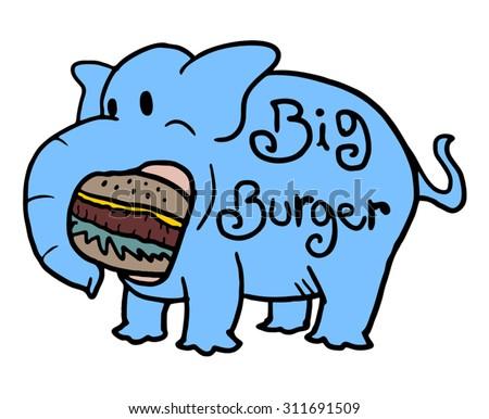 elephant eating big burger - stock vector