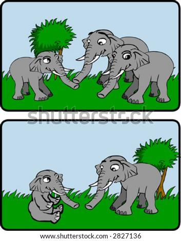 Elephant Family - stock vector