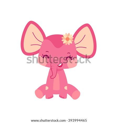 Elephant girl. Cartoon illustration in vector.  - stock vector