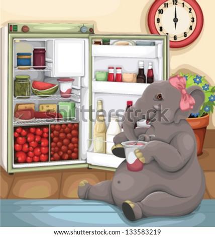 Elephant Glutton - stock vector