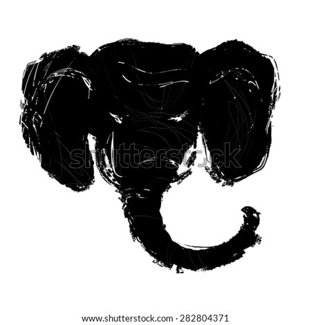 Elephant Head black silhouette. Grunge style, paint by brush vintage vector illustration. Inspired by legend of Ganesha, indian god of luck and and prosperity. Isolated on white, eps 10. - stock vector