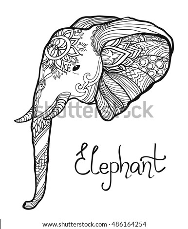 Elephant Head Hand Drawn Tangled Illustration Coloring Page For Adult And Children