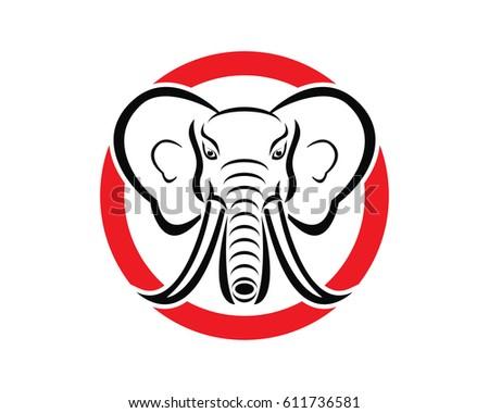 elephant head logo stock vector 611736581 shutterstock rh shutterstock com  grey elephant head logo