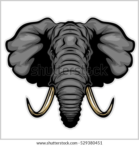 Elephant head - vector illustration. Isolated on white.