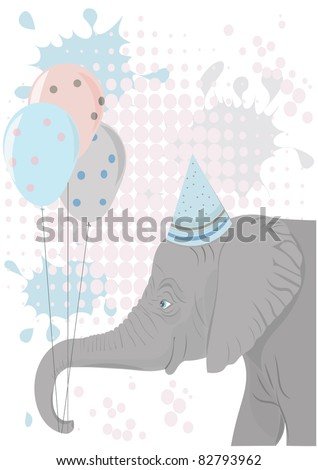 Elephant holding party balloons vector
