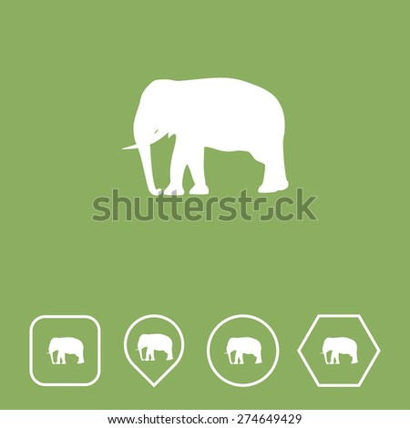 Elephant Icon on Flat UI Colors with Different Shapes. Eps-10. - stock vector