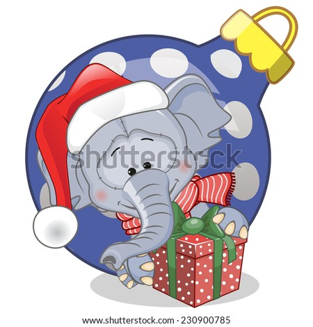 Elephant in a Santa hat with gift  - stock vector