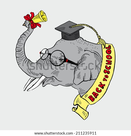 elephant in academic cap with a school bell - stock vector