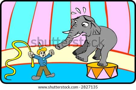 Elephant in Circus - stock vector
