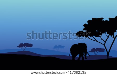 Elephant in fields scenery with blue backgrounds - stock vector