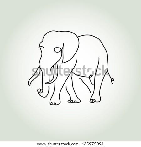 Elephant in minimal line style vector - stock vector
