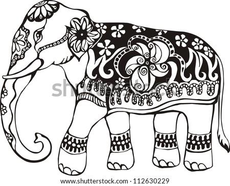 Indian Elephant Line Drawing elephant indian