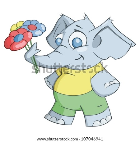Elephant is giving flowers - stock vector