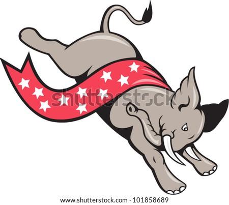 Elephant Jumping Democrat Mascot - stock vector