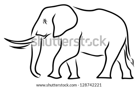 Indian Elephant Line Drawing Elephant Line Art - stock