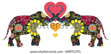 Elephant Love, animal love - stock vector