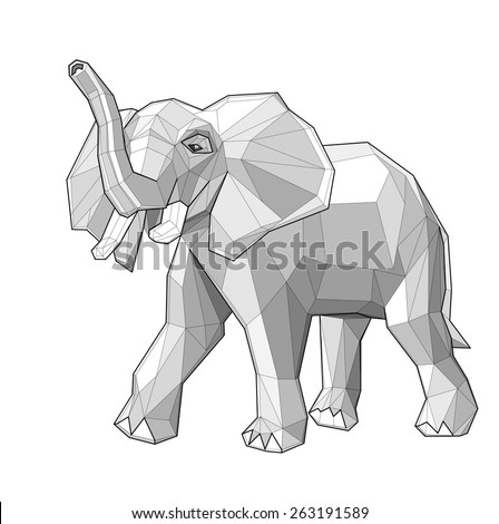 Elephant. Low polygon linear vector illustration - stock vector