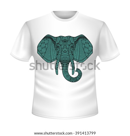 Elephant on a t-shirt. Shirt Short-sleeve white. T-shirt with print, patterned with patterned elephant head. The image of the head of an elephant of blue, gray color against on a white t-shirt. Vector - stock vector