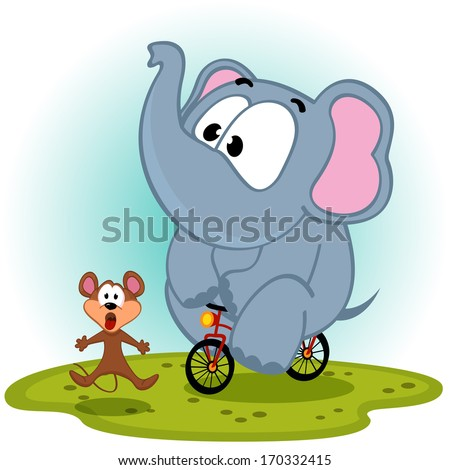 elephant  on bike catches mouse - vector illustration - stock vector
