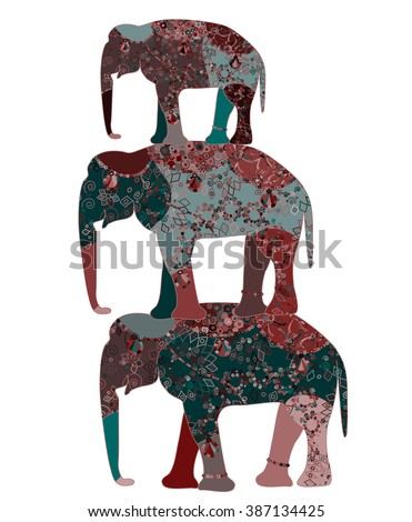 elephant painted by hand is suitable for your projects!