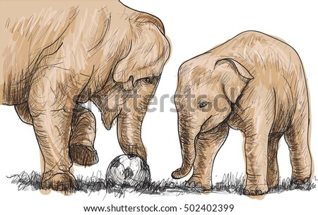 elephant playing football, sketch free hand draw illustration vector