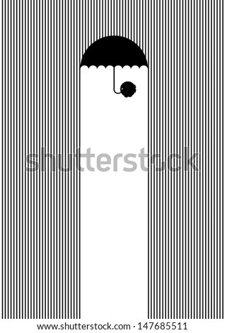 Elephant protects of a rain with an umbrella - stock vector