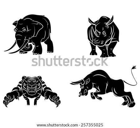 Elephant,Rhino,Tiger and Bull Tattoo Collection - stock vector