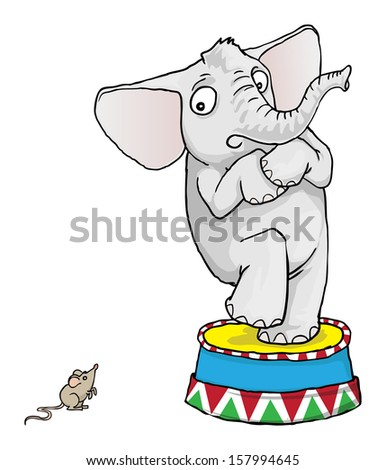 Elephant scared of a little mouse, vector illustration - stock vector