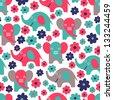 elephant seamless pattern - stock vector