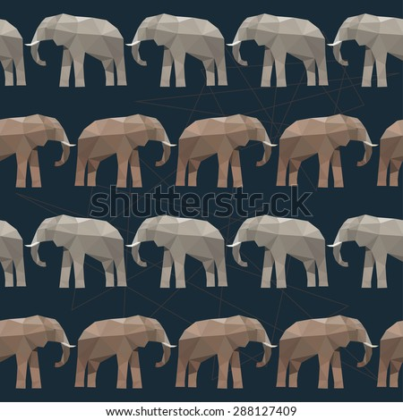 Elephant seamless pattern background isolated on black. Abstract bright  polygonal geometric triangle illustration for use in design - stock vector