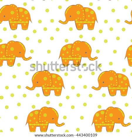 Elephant seamless pattern print. .Print. Ethnic pattern. Ethnic elephant seamless pattern. Funny cute elephant with flowers. Childish pattern. Happy Independence Day celebration - stock vector
