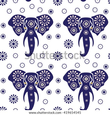 Elephant seamless pattern print. Vector illustration of elephant  head (african elephant) Print. Ethnic pattern. Ethnic elephant seamless pattern  - stock vector