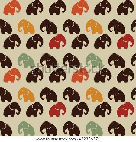Elephant Seamless Vector Pattern - stock vector