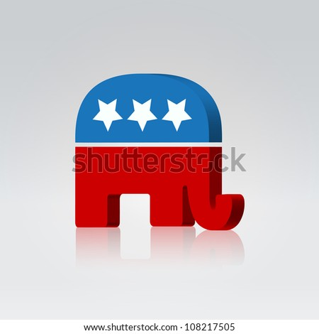 Elephant silhouette american voting campaign illustration - stock vector