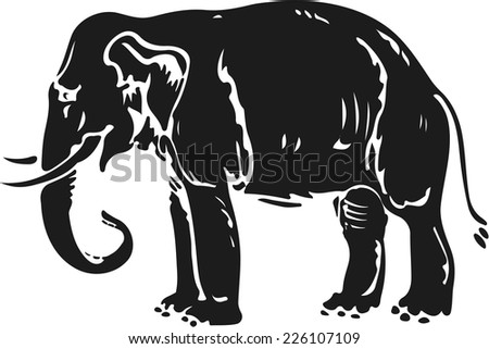 Elephant silhouette in woodcut style. - stock vector