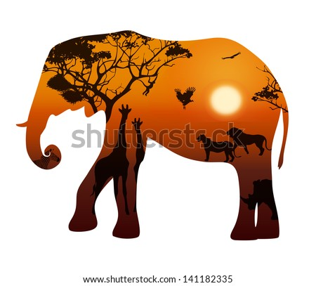 elephant silhouette on a white background. Landscape with sunset and savannah animals, vector illustration - stock vector