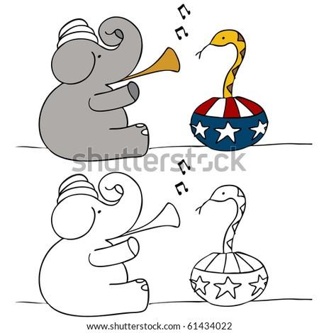 Elephant Snake Charmer - stock vector