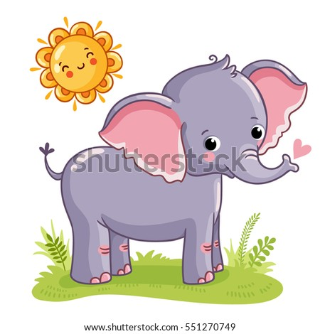 Elephant stands on the sunny meadow. Vector illustration on the theme of children. Cute animal.