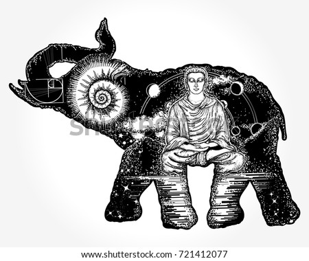 Elephant Tattoo Art Symbol Spirituality Meditation Stock Vector