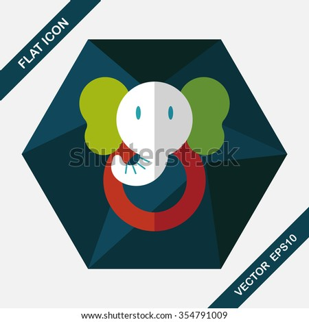 elephant toy flat icon with long shadow,eps10 - stock vector