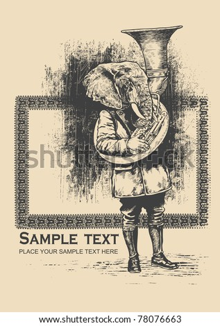 Elephant trumpet and grunge scratched background. retro style. vector illustration