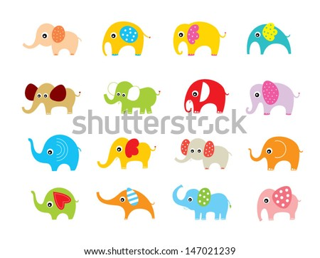 elephant vector set - stock vector