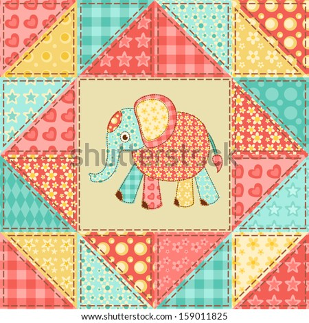 Elephant. Vintage patchwork pattern. Vector background. - stock vector