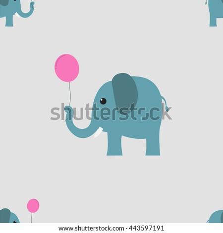 Elephant with balloon seamless - Vector - stock vector